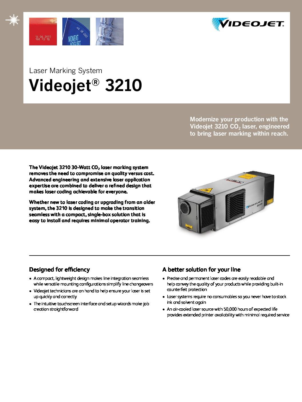 Videojet 3210 Specification Sheet