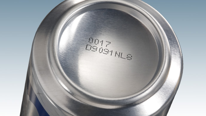 Printed date code on aluminum can