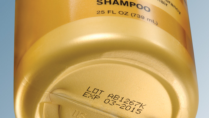 Lot and expiration on PET shampoo bottle