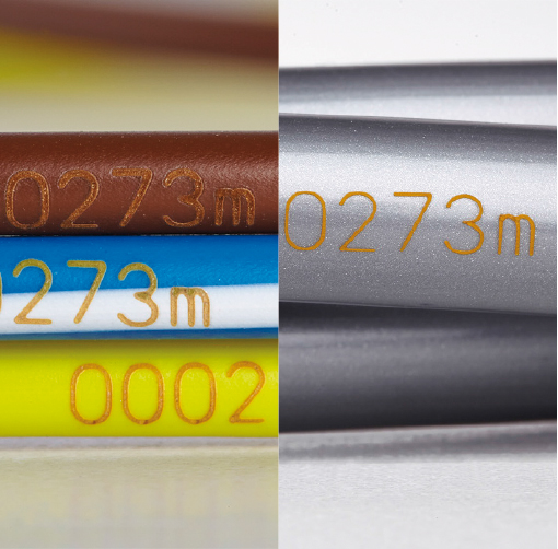 Laser marking on extruded wire and cable