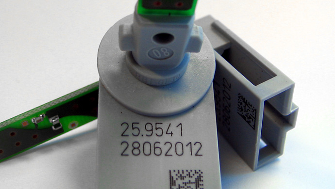 Printing batch numbers on plastic components of Electrical & electronic parts