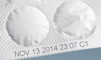 термоструйная маркировка бумажного блистера с таблетками
